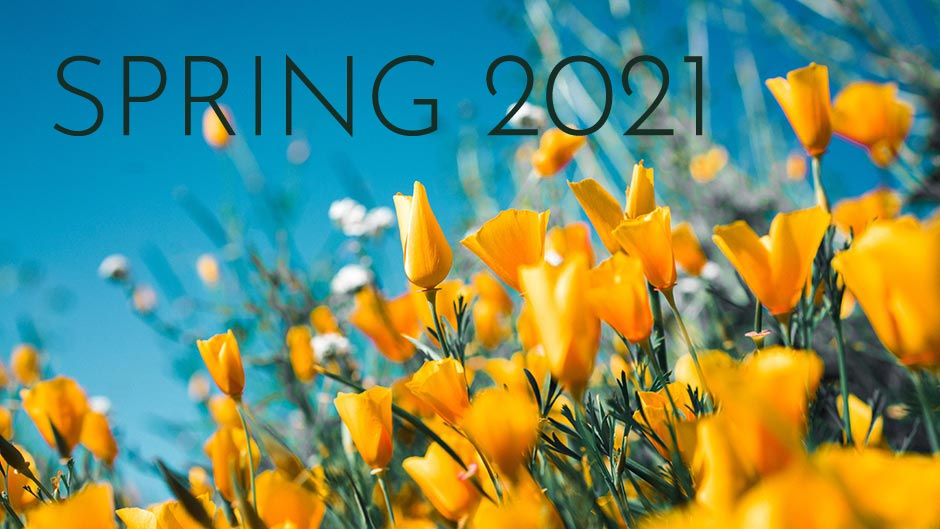 Spring 2021 text over blooming wild poppies