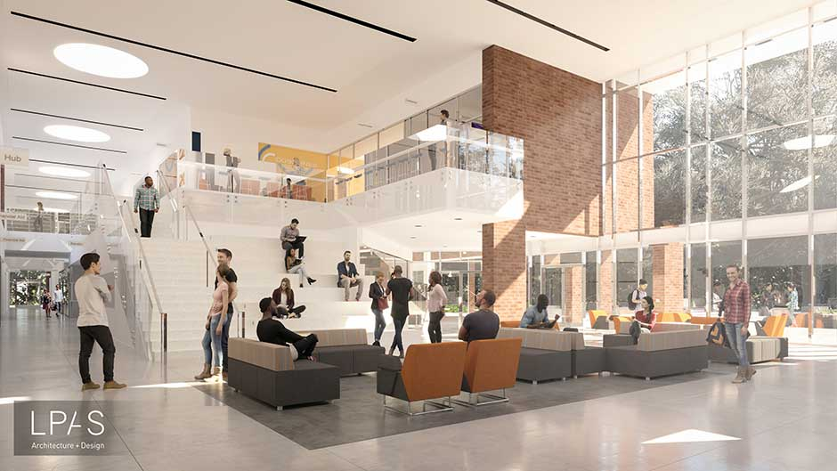 Rendering of CRC College Center building interior main lobby