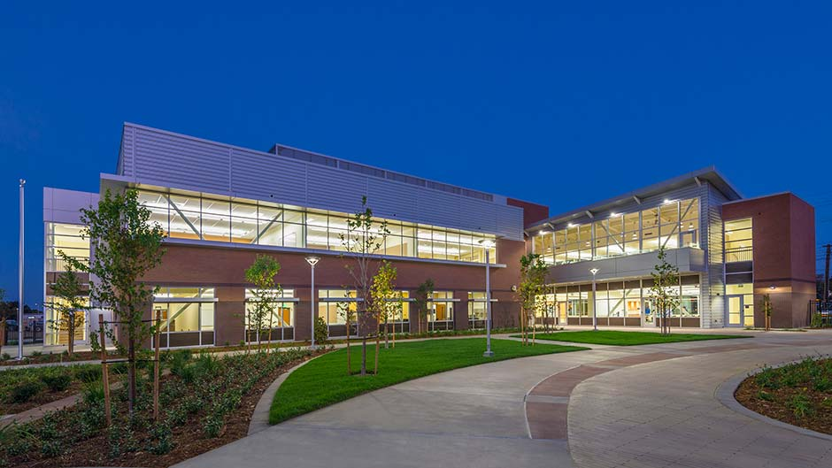 Exterior of RCC courtyard in the evening